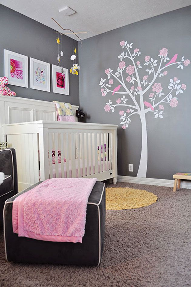 deco chambre bebe fille rose et gris. Black Bedroom Furniture Sets. Home Design Ideas
