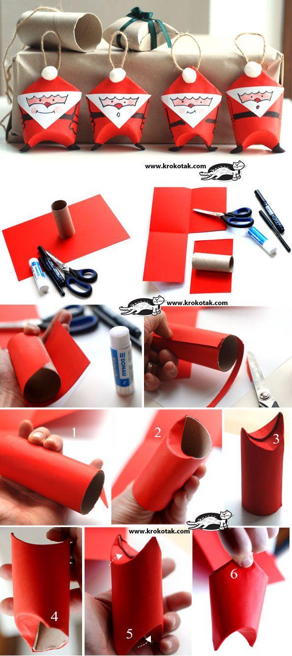 Bricolages de no l avec des tubes de carton c 39 est a la vie - Pere noel avec rouleau de papier toilette ...