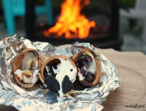 Cornet dessert sur le feu