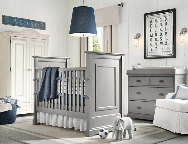 Une chambre de bébé bleue et grise - C\'est ça la vie