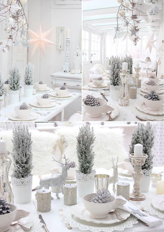 table de Noël blanc