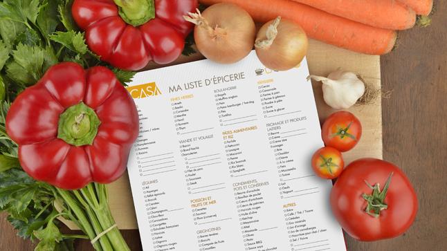 liste épicerie