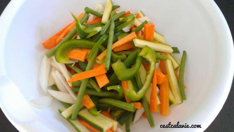 ingrédient pour la poutine aux légumes